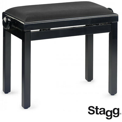 NEW Stagg PB39-BKP-SVBK Highgloss Oak Piano Bench with Black Smooth Velvet Top, used for sale  La Vergne