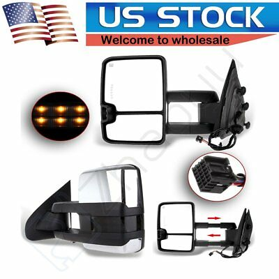 14-18 Chevy Silverado GMC Sierra Tow Power Heated LED Signal Chrome Cover Mirror