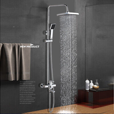 Wall Mounted Chrome Shower Faucet Set 8 inch Rainfall Hand Shower Tub Filler Tap ()
