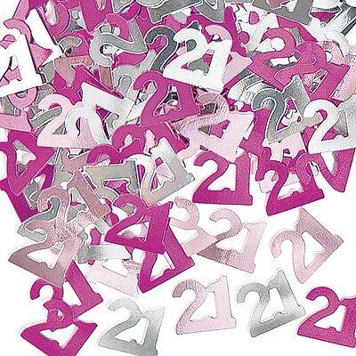 Pink & Silver Sparkle Happy 21st Birthday Confetti Foil Sprinkles