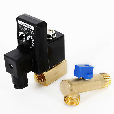 New Ac110v 12 Electronic Timed Air Compressor Automatic 2-way Drain Valve Us