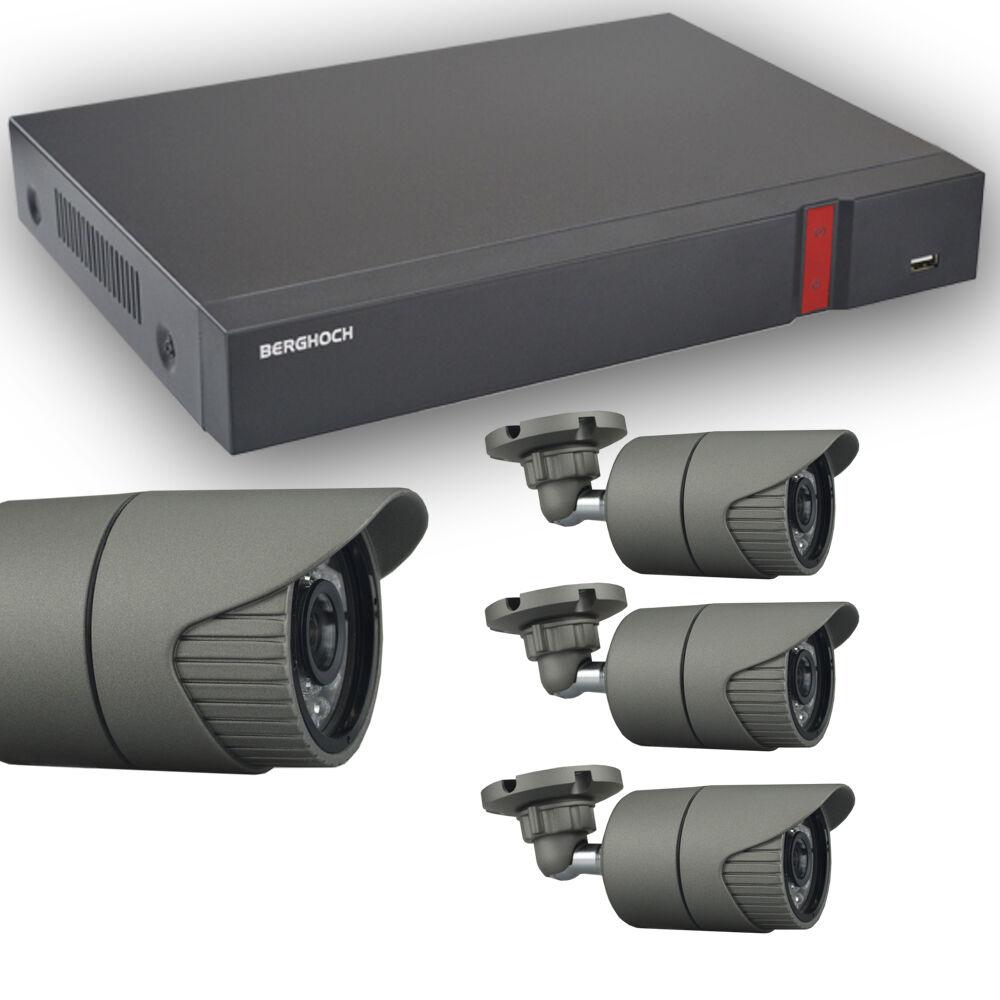 Videoüberwachung Set HD 1080p POE 4x Aussen Überwachungskamera + 2 TB Festplatte