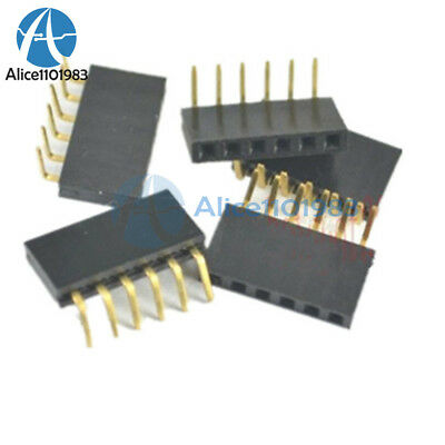 20pcs 2.54mm Pitch 1x6pin Header Right Angle Female Single Row Socket Connector