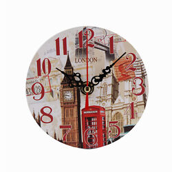 Vintage Style Non-Ticking Silent Antique Wood Wall Clock for Home Kitchen  K
