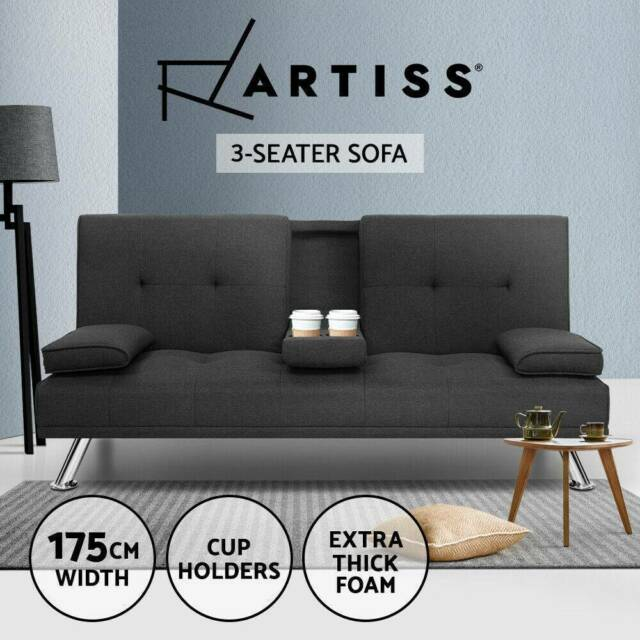 Futon Couch Linen Fabric Cup Dark Grey