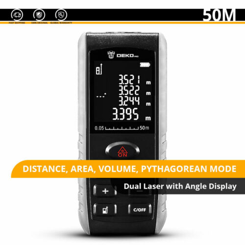 DEKO 196ft Laser Distance Measure Device Large Digital Display Measuring Tool