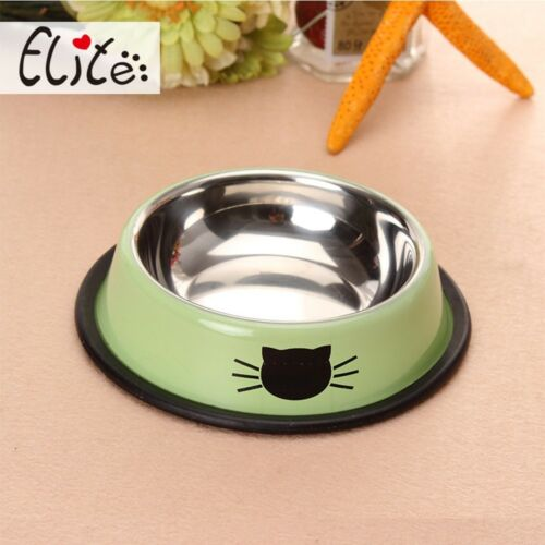 Dish Water Bowl Feeder Steel Stainless Cat Bowl Pet Feeding Dog Food Puppy