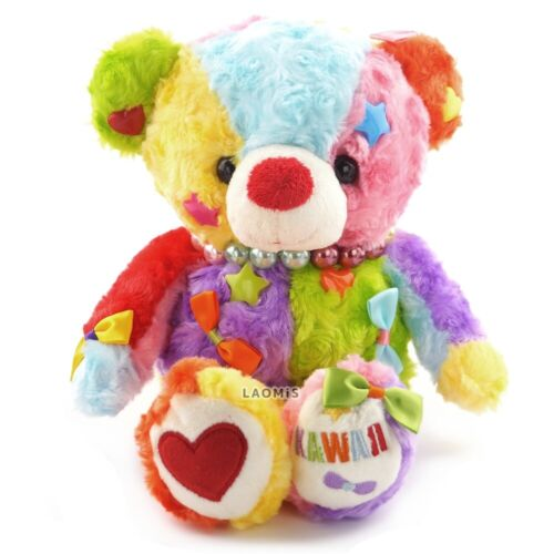 """Take Off Kawaii Colorful Bear with Pearl Necklace Plush 12"""" / Colorful"""