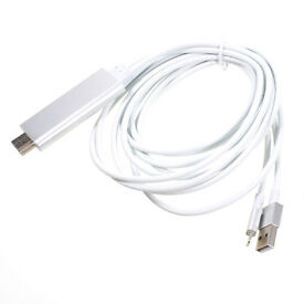 LIGHTNING TO HDMI CABLE FOR APPLE IPHONE 5 5S 6 6S 7, ipads 5,6 (silver) Fast PP