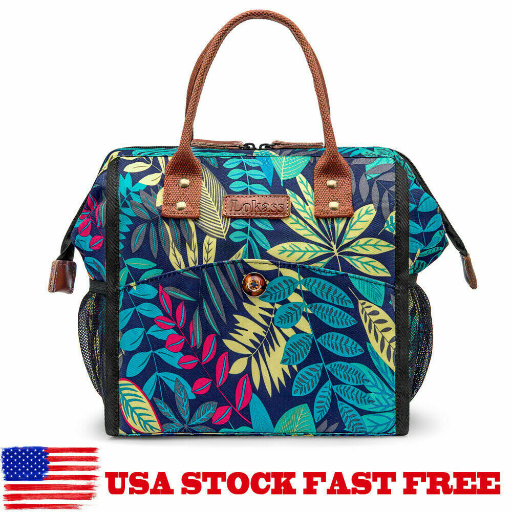 Lokass Women Leakproof Waterproof Lunch Box Cooler Bag Soft