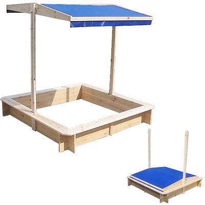 Sandkasten mit verstellbaren Dach Spielhaus Sandbox Sandkiste Holz Deckel