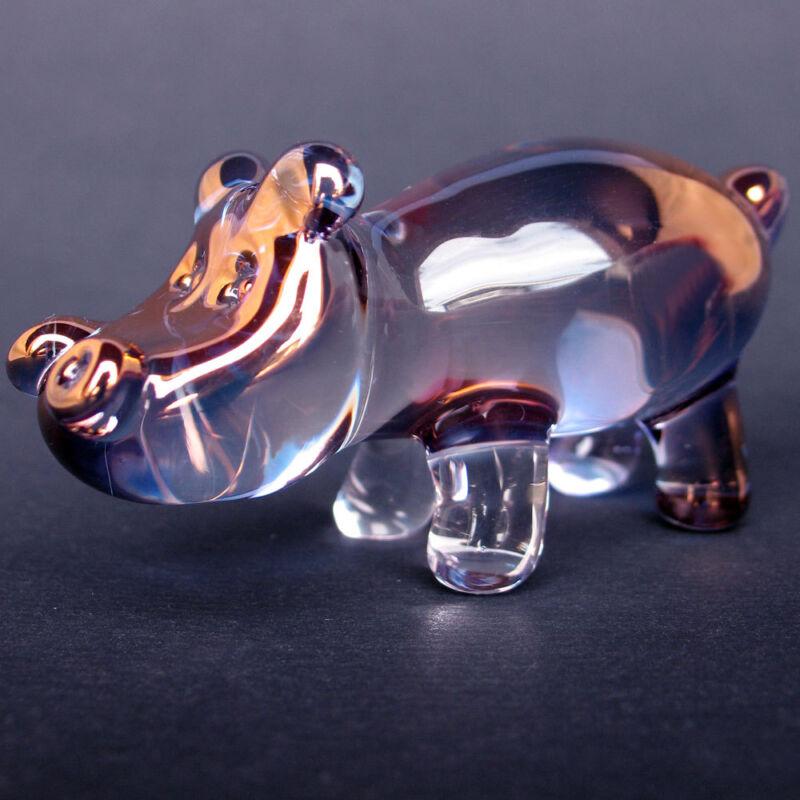 Hippo Hippopotamus Figurine Hand Blown Glass Crystal