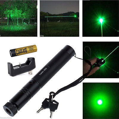 532nm Green Laser Pointer Light Pen Lazer Beam High Power + Battery +Charger