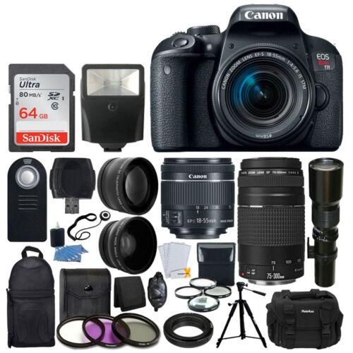 Canon EOS Rebel T7i DSLR Camera +18-55 +75-300 +500mm Lens Deluxe Accessory Kit