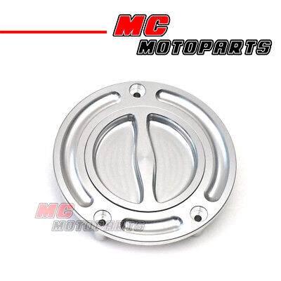 BILLET SILVER KEYLESS FUEL CAP FOR MT 01 XJ6 YZF R1 600 1000 XJR 1200