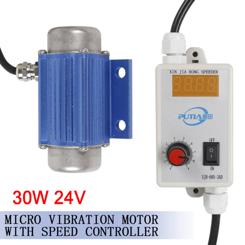 30W 24V Vibrator Vibrating Vibration DC Brushless Motor w/ Speed Controller New