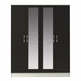 Classic 4 door double mirrored wardrobe white and black
