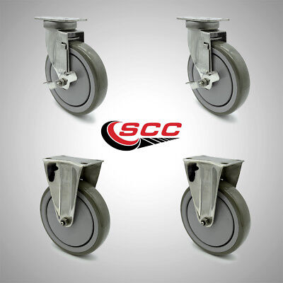 Service Caster 6 Poly Wheel 2 Rigid2 Swivel Stainless Casters Wbrakes