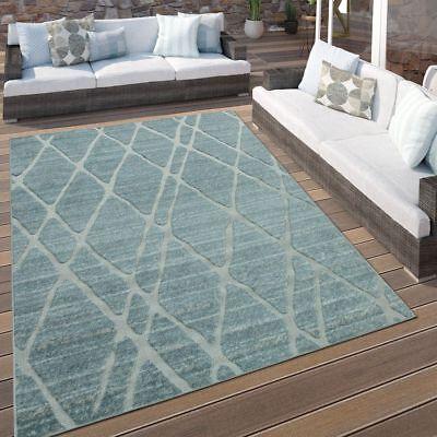 In- & Outdoor Terrassen Teppich Modernes Rauten Design Pastell Türkis Hellblau