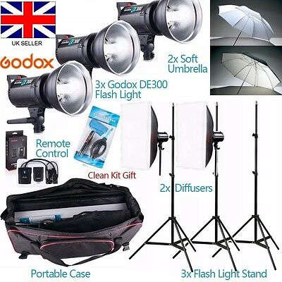 Godox DE300 900W Studio Flash Lighting set Photography Strobe light Portrait Kit