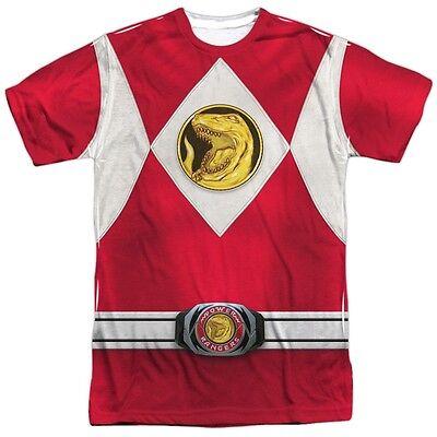 Power Rangers Red Emblem Logo Costume Outfit Uniform Sublimation Front T-shirt - Power Rangers Outfit