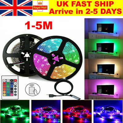 5050 RGB LED STRIP LIGHTS COLOR CHANGING TAPE TV BLACK KITCHEN LIGHTING USB UK