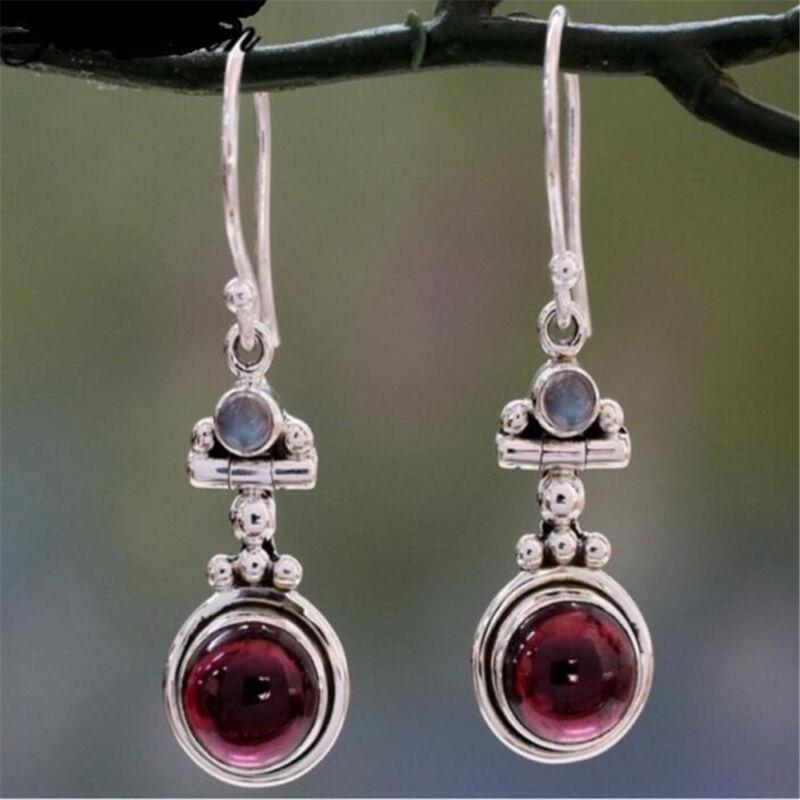 Women's Long 925 Silver Moonstone Red Agate Dangle Hook Earr