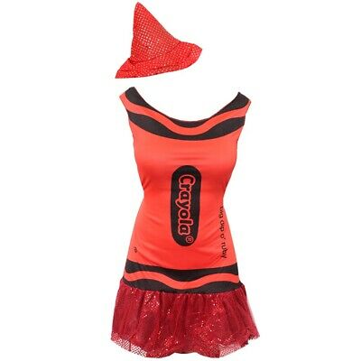 RED LADIES CRAYOLA CRAYON COSTUME WOMENS WORLD BOOK DAY OFFICIAL FANCY DRESS