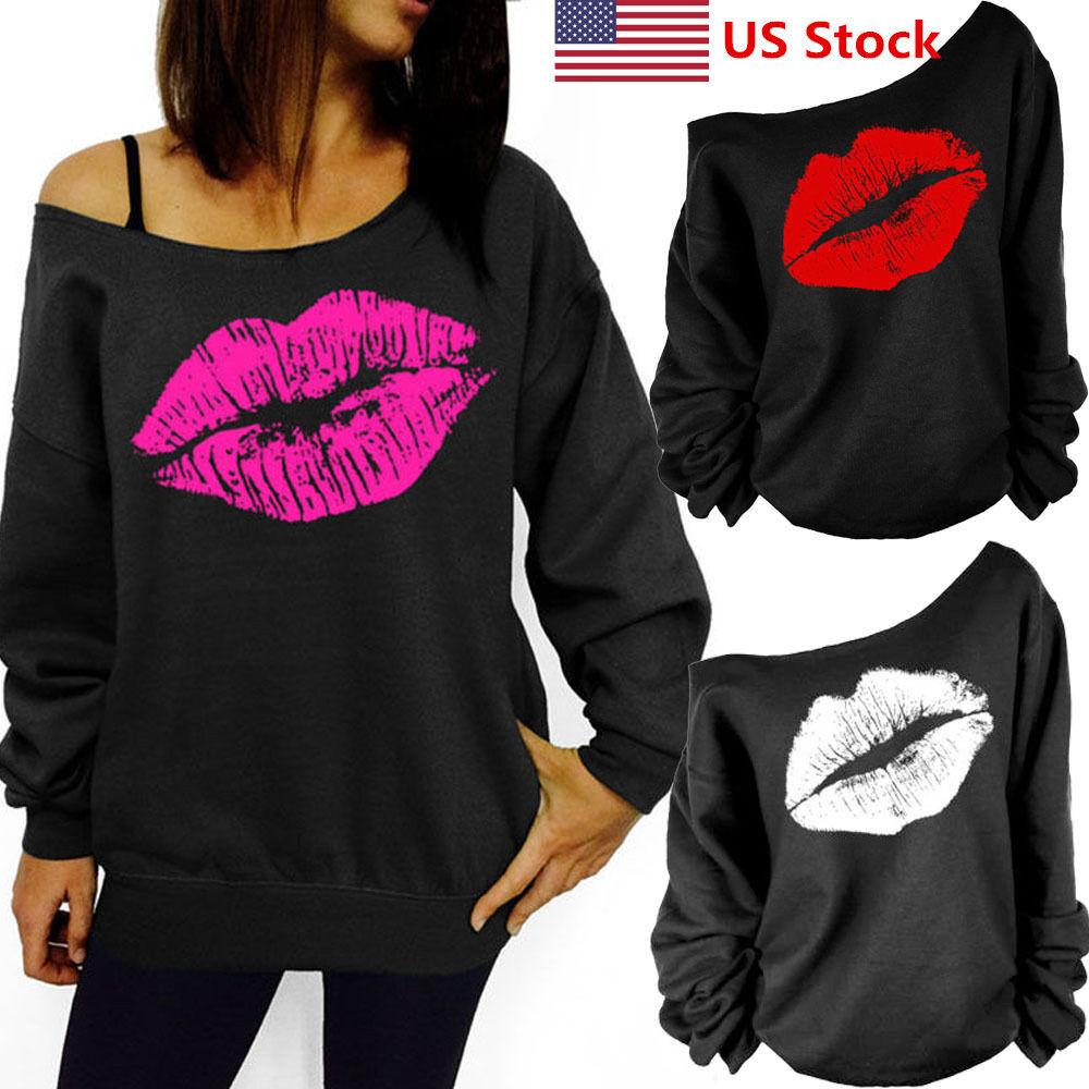 US Women's Casual Lips Pullover Jumper Hoodie Long Sleeve Sw