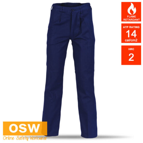 Mens NAVY Flame Retardant Resistant COTTON Drill Work Pants - Gas Electric Trade