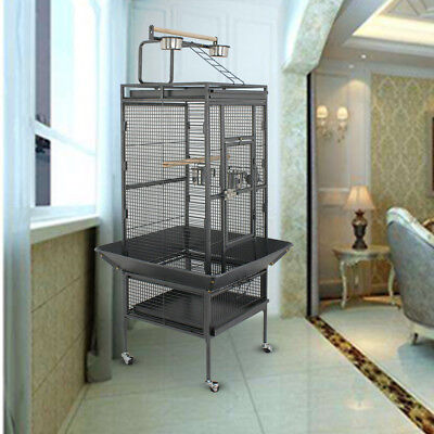 "61""Large Bird Cage Top Play Non-Toxic Stainless Steel Macaw Cockatoo Pet House"