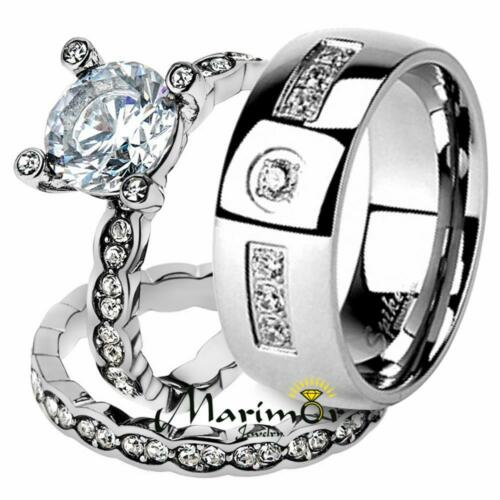 His & Her Stainless Steel 2.25 Ct Cz Bridal Ring Set & Me...