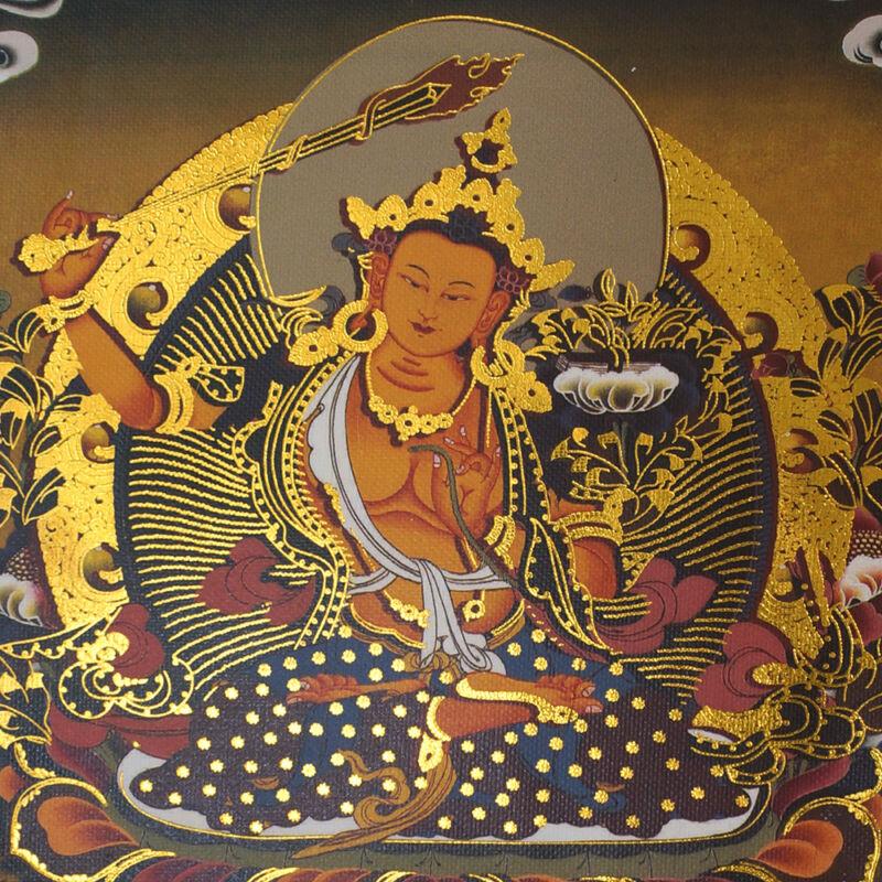 "14"" SILK BROCADED GOLDEN WOOD SCROLL TIBET THANGKA: MANJUSHRI MASTER OF WISDOM ="