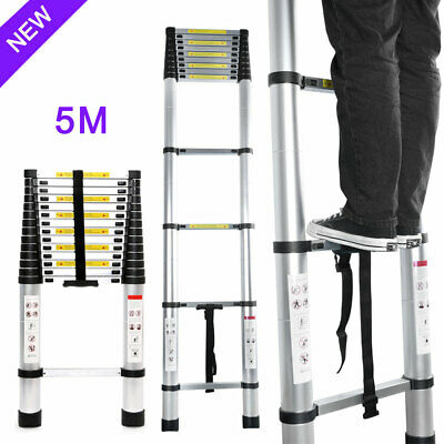 5M Aluminium Telescopic Ladder Heavy Duty Multi-Purpose Folding Extendable EN131