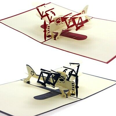 Cool 3D PopUp Airplane Handmade Best Wish Greeting Card Birthday Kids Child