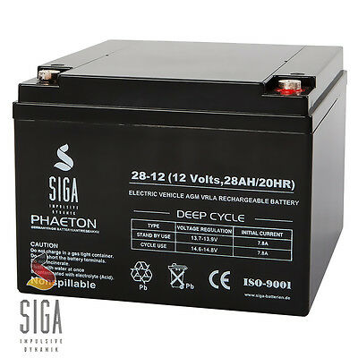 SIGA Batterie 12V 28Ah AGM Blei GEL Akku Notstrom Alarmanlage USV 25Ah 26Ah 27Ah