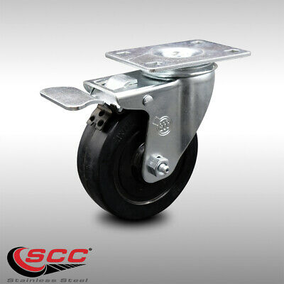Ss Soft Rubber Swivel Top Plate Caster W4 Wheel Ttl Brake