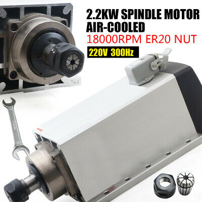 2.2kw 18000rpm Air-cooled Spindle Motor Er20 Square For Cnc Engravingrouter 6a