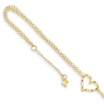 Real 14kt Yellow Gold Double Strand Heart 9 With 1 Ext Anklet; 9 -