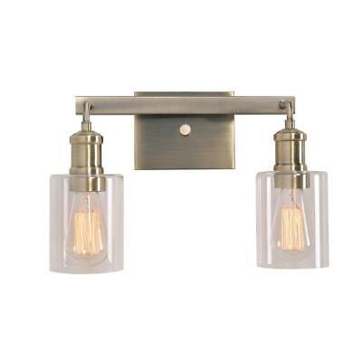 Kenroy Home Renda 2 Light Antique Brass Bath Vanity Light Glass Shade