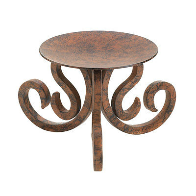 """BROWN basic iron Scroll 3 WICK 6"""" wide pillar large Candle holder pedestal stand"""