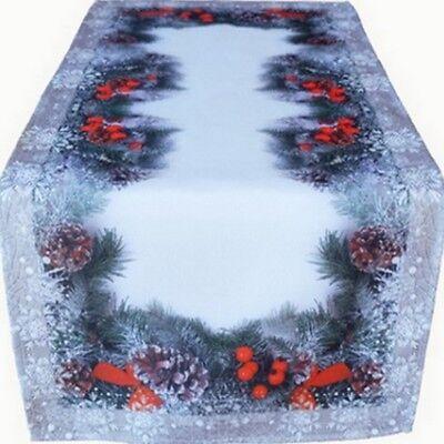 Tischläufer 40x90 Weihnachten Advent Tannenzweige Zapfen Beeren Schneeflocken ()