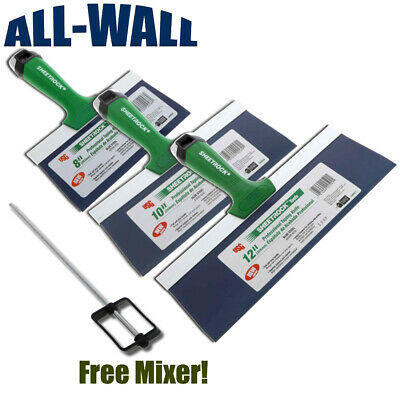 Usg Sheetrock Pro Drywall Taping Knife Set 8-10-12 Matrix Style Grip Free Mixer