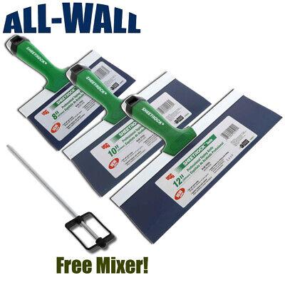 Usg Sheetrock Pro Drywall Taping Knife Set 8-10-12 Matrix Style Grip Free Mixer