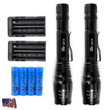 2 Sets 15000 Lumens 5 Modes CREE XML T6 LED Flashlight 18650 Battery+Charger USA