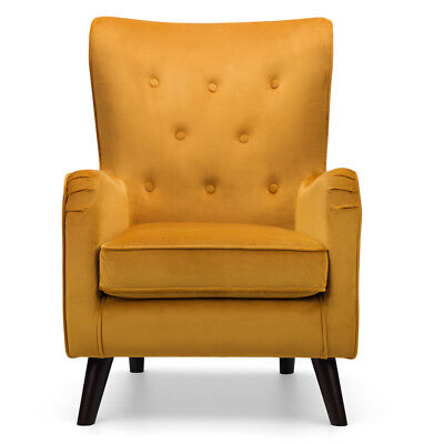 Velvet Wingback Fransen Chair Lounge Furniture Accent Armchairs Choice of Colour