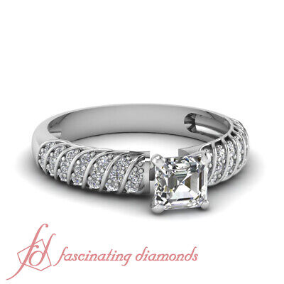 1.25 Ct Womens White Gold Engagement Rings Pave Set With Asscher Cut Diamond GIA