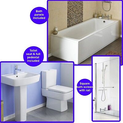 Premier Linton Standard Shower Bath With Bliss Toilet and Basin Suite
