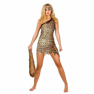Cute Cave Girl Ladies Fancy Dress Costume Caveman Themed Party Outfit 6/20