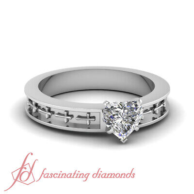 1/2 Carat Heart Shape F-Color Diamond Solitaire Cross Design Engagement Ring GIA